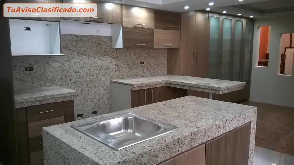 Granito de cocina cheap muebles de cocina blanco for Granito negro brillante
