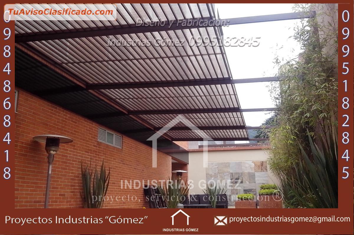 Pérgola De Estructura Metálica Madera Policarbonato